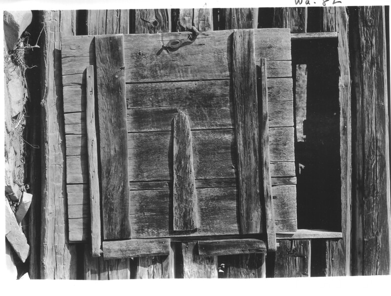 Old smoke house door of John Palmer in Cataloochee. Planned Great Smoky Mountains National Park, 1931.