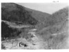 View down the valley of the Little Pigeon River from Newfound Gap Highway. Indian Gap Hotel is in the middle distance. Planned Great Smoky Mountains National Park, 1931.