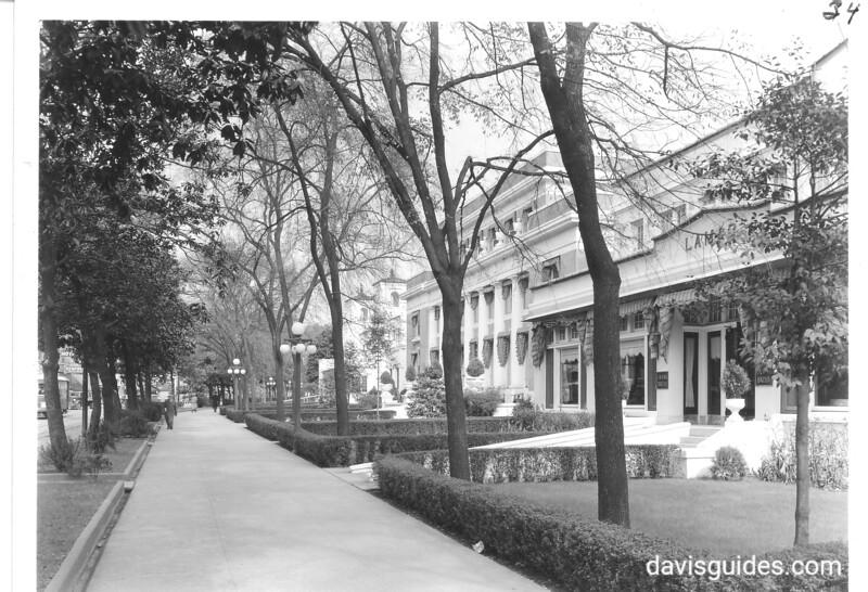 Along Bath House Row showing Lamar and Buckstiff Bath Houses. Hot Springs National Park, 1937.