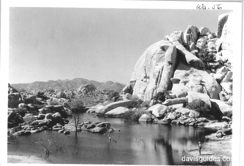 Barker's Dam impounding good water in Lost Horse Valley. Joshua Tree National Park, 1941.