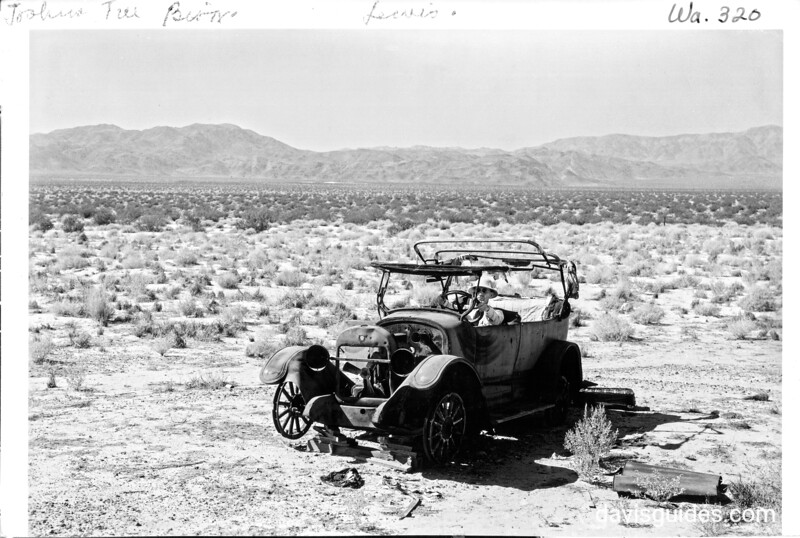 Dr. J. Velmey Lewis needs good transportation to cover the area. Joshua Tree National Park, 1941.