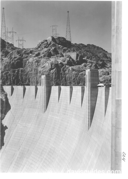 The downstream face of Hoover Dam. Lake Mead National Recreation Area, 1939.
