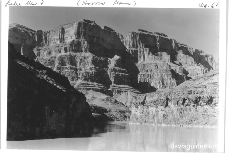 A complete geological cross section of the Grand Canyon of the Colorado River on Lake Mead. The low cliff on the right is made up of archaic rocks of the Inner Gorge surrounds by Tapeats sandstone. Lake Mead National Recreation Area, 1937.