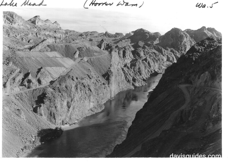 Colorado River in Black Canyon below Boulder (Hoover) Dam showing Arizona side of the river. Lake Mead National Recreation Area, 1937.