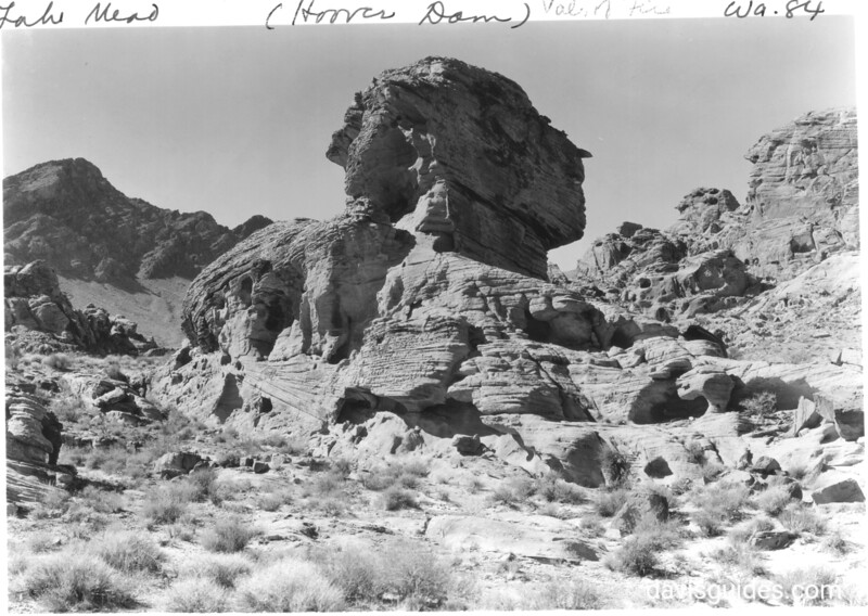 Fantastic red sandstone formation in Valley of Fire. Lake Mead National Recreation Area, 1937.