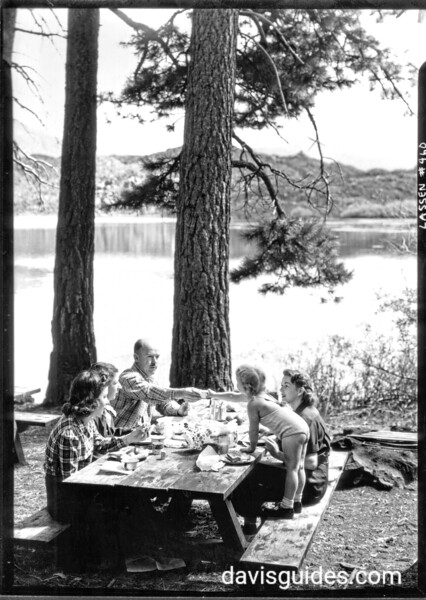 Picnicking at Manzanita Lake, Lassen Volcanic National Park, 1934.