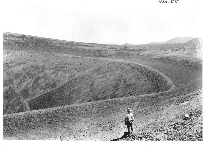 Right side of the crater of the Cinder Cone, looking east. Lassen Volcanic National Park, 1934.