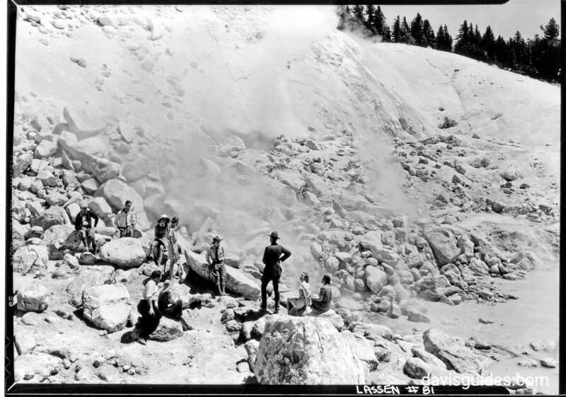 Visitors with ranger at Bumpass Hell, Lassen Volcanic National Park, 1934.