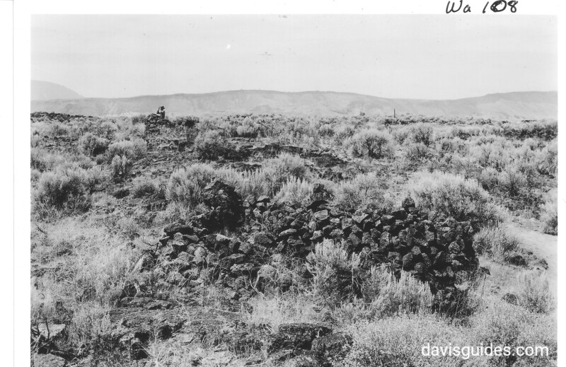 Fortifications in Captain Jack's stronghold looking east toward Gilliam's Bluff. The shoulder of Dome Mountain in upper left. Lava Beds National Monument, 1941.