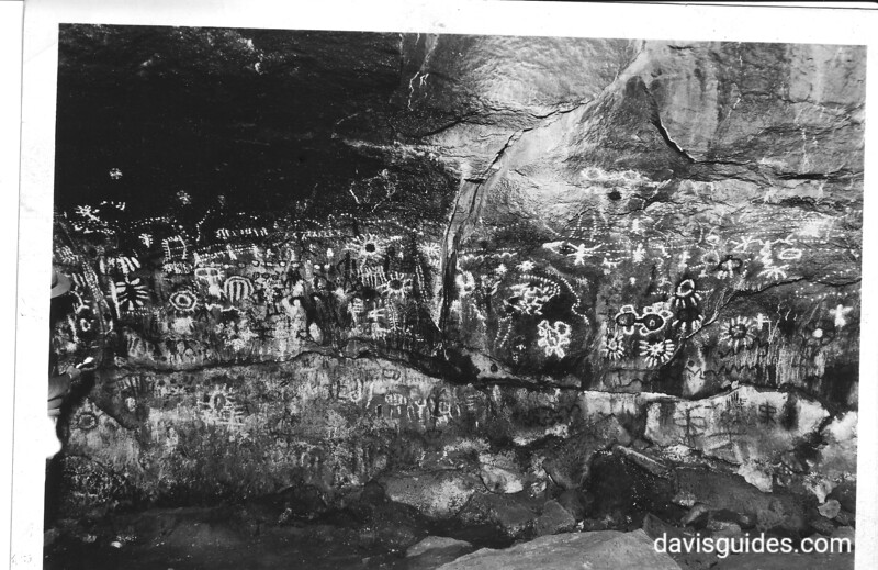 Pictographs in Fern Cave. Lava Beds National Monument, 1941.