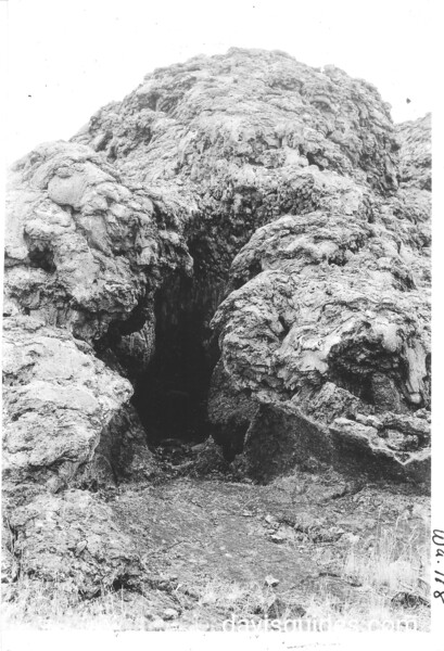 Chimney in Thomas Wright area. Lava Beds National Monument, 1941.