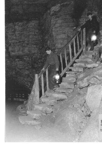 "Exit stairway from ""Corkscrew"" in old Mammoth Cave. Mammoth Cave National Park, 1935."