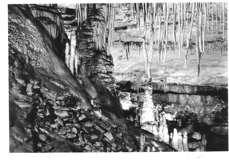 Stalactite and stalagmite formations. Mammoth Cave National Park, 1935.