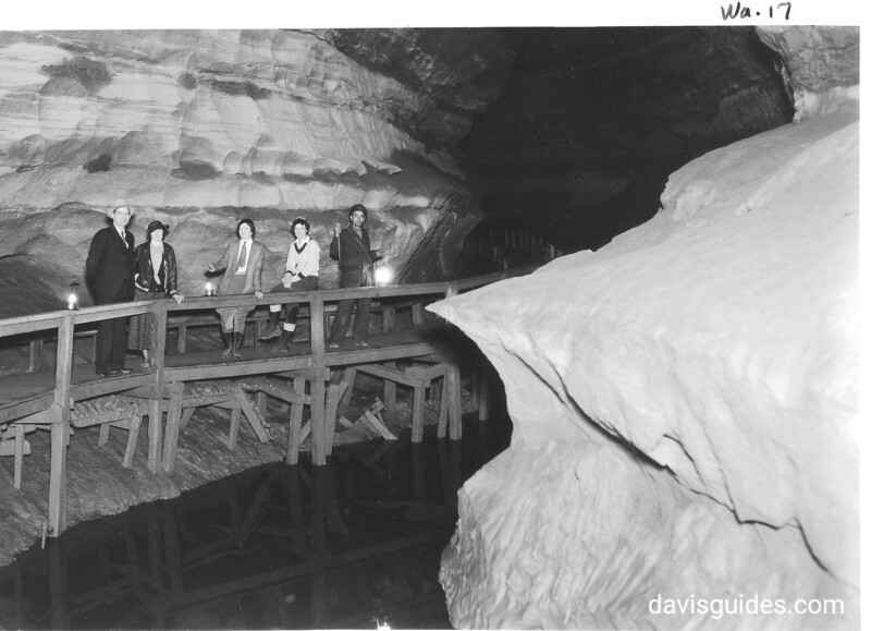 """The """"Board Walk"""" along Echo River. Mammoth Cave National Park, 1935."""