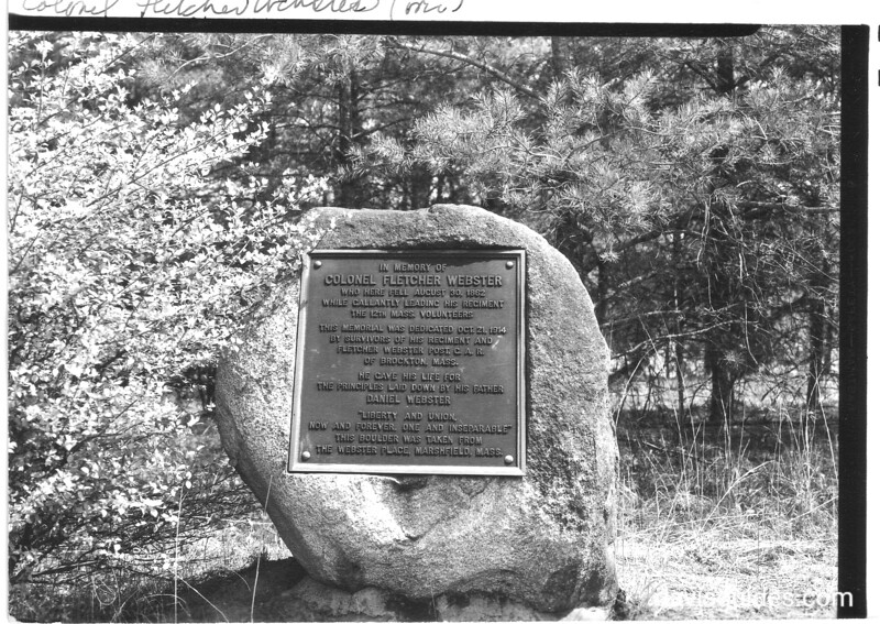 Stone monument and tablet in memory of Col. Fletcher Webster, son of Senator Daniel Webster, who was killed in the 2nd Battle of Manassas. The stone is from the Webster Place in Marshfield, Massachusetts. Manassas National Battlefield Park, 1942.