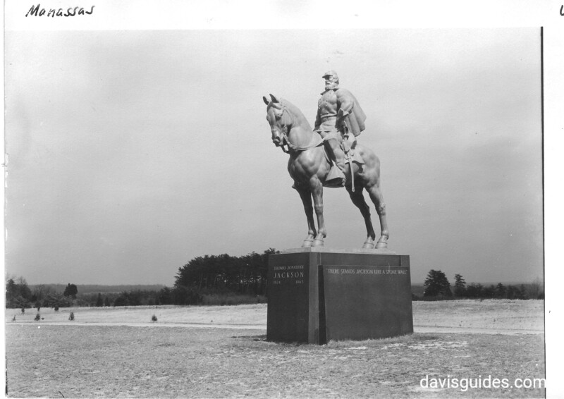 """Equestrian statue of Confederate Gen. Thomas J. Jackson. It stands on crest of ridge  where Jackson earned his nickname """"Stonewall"""" in the 1st Battle of Manassas in 1861. Manassas National Battlefield Park, 1942."""