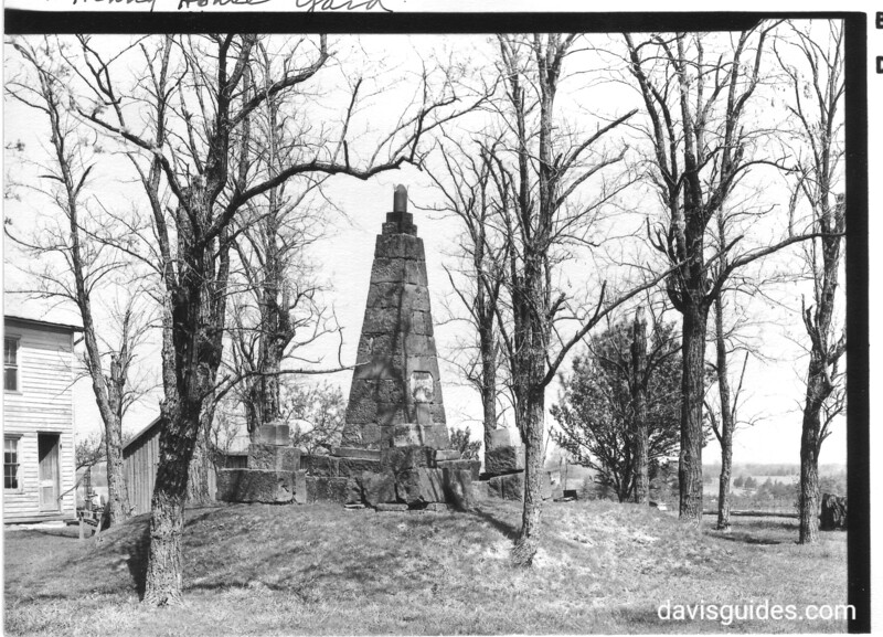Gamble Monument in Henry House yard. It was erected by returning Union soldiers in 1865, following the surrender at Appomattox. Manassas National Battlefield Park, 1942.
