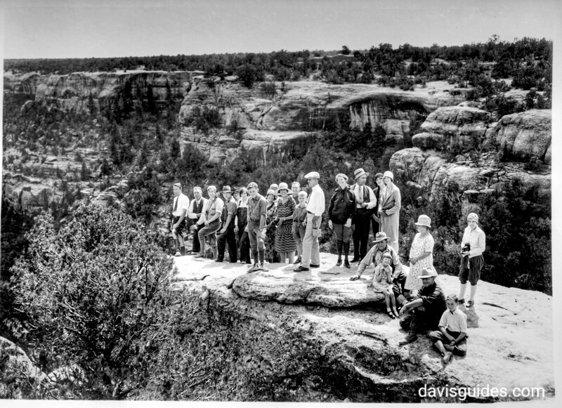 Tourist party on cliff preparing to descend to Cliff Palace. Mesa Verde National Park, 1929.