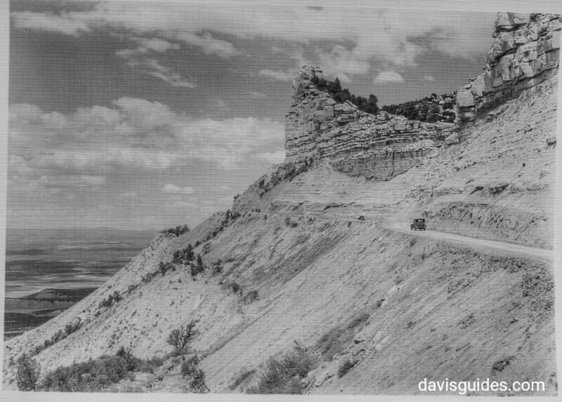 Knife Edge Road, George Grant's panel truck on the road. Mesa Verde National Park, 1929.