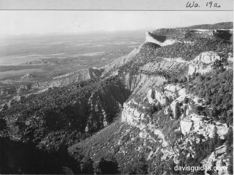 Looking northeast over Montezuma Valley with Knife Edge Road on right. Mesa Verde National Park, 1929.