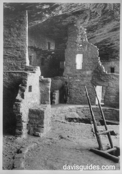 Interior of dwelling in Cliff House, Mesa Verde National Park, 1929.