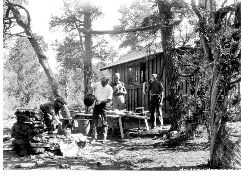 Breakfast at Rodeo Springs Cabin by outdoor fireplace. Mesa Verde National Park, 1929.