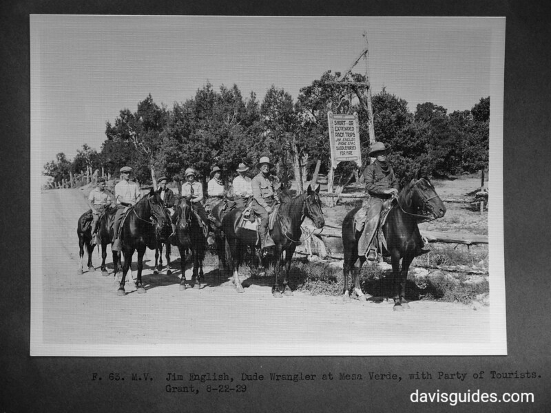 Jim English, dude wrangler, with party of tourists. Mesa Verde National Park, 1929.