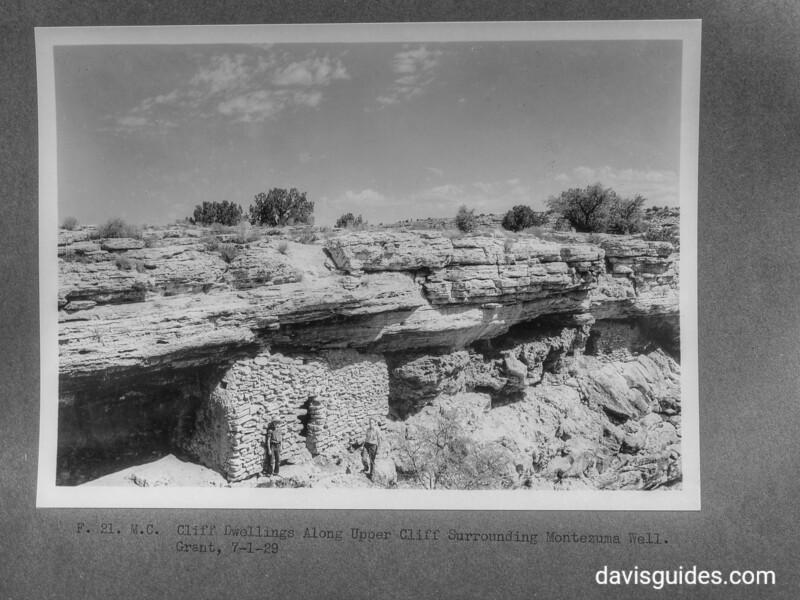 Cliff dwellings along upper cliff surrounding Montezuma well. Montezuma Castle National Monument, 1929.
