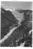 View from Ricksecker Point showing lower part of Nisqually Glacier and Nisqually River. Mount Rainier National Park, 1932.