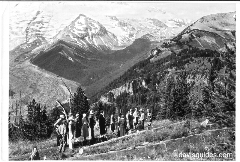 Nature guide party on the trail with Ranger Hormuth at Sunrise. Mount Rainier National Park, 1932.
