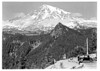 Tourists enjoy a view of Mount Rainier from Ricksecker Point. Mount Rainier National Park, 1932.