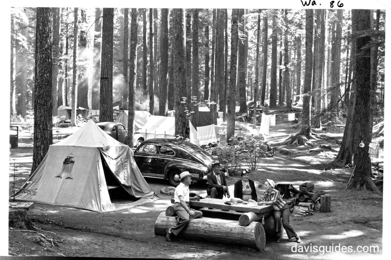 Campground at Ohanapecosh Springs, Mount Rainier National Park, 1941.