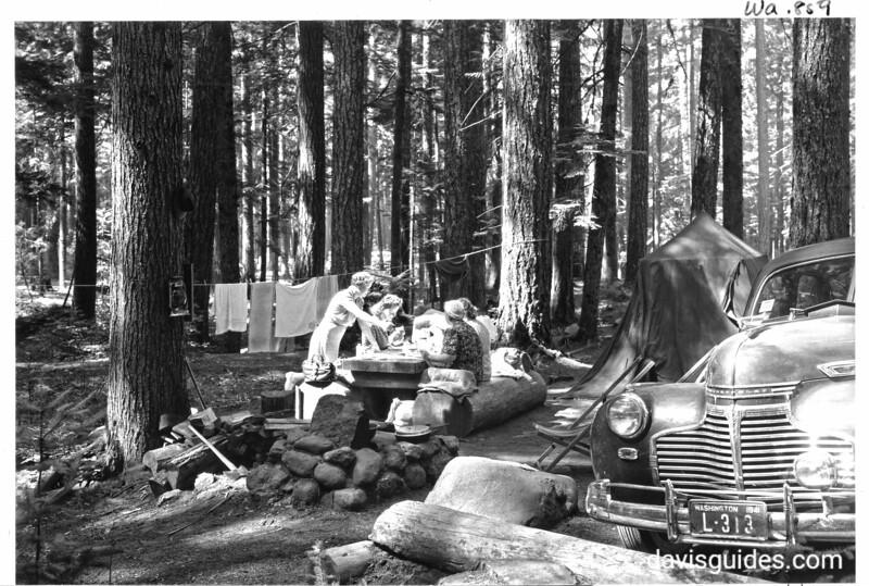 Breakfast at Ohanapecosh Springs Campground, Mount Rainier National Park, 1941.