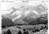 Visitors on horseback above Sunrise Lodge and cabins, Mount Rainier National Park, 1940.