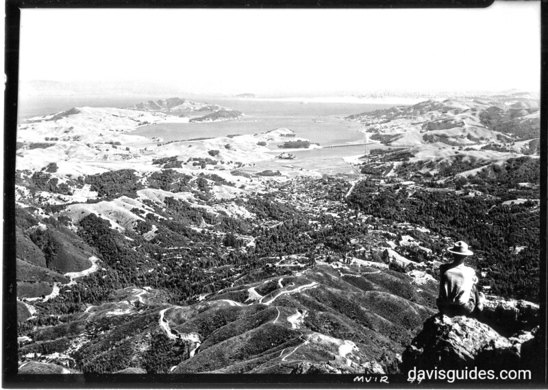 View south from the summit of Mount Tamalpais, showing Mill Valley, Richardson Bay, Sausalito and San Francisco. Muir Woods National Monument, 1933.