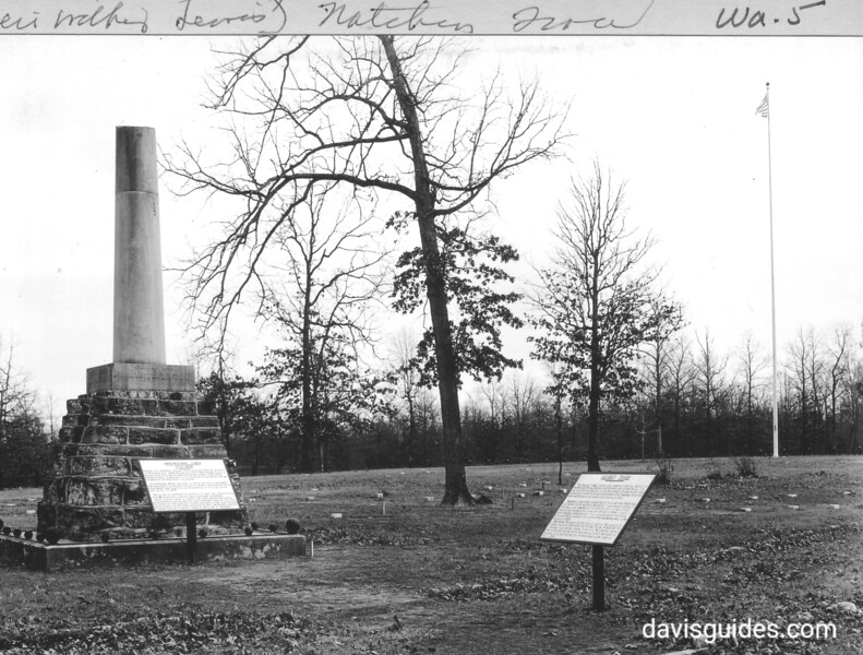 Meriwether Lewis Monument and marker in Tennessee. Natchez Trace Parkway, 1934.