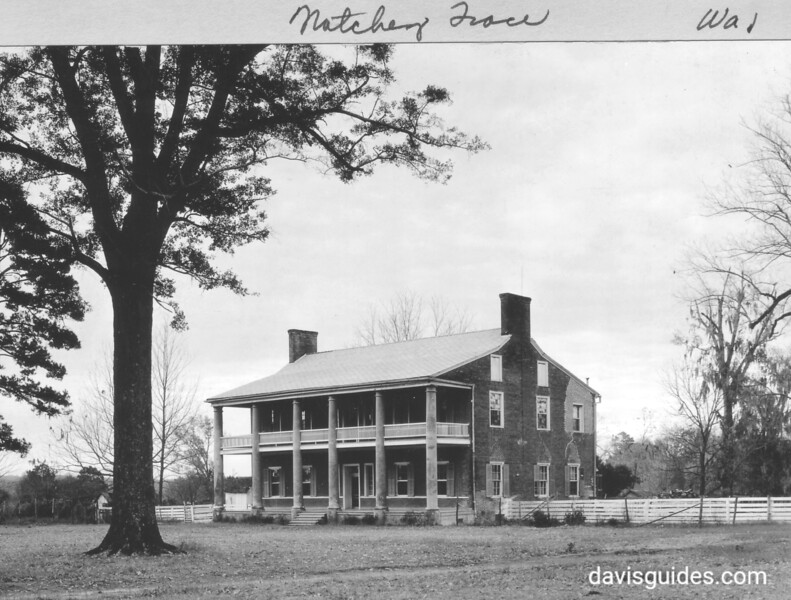 """Springfield"", an antebellum mansion near Natchez, Mississippi, 20 miles NE. Andrew Jackson was reported to have married Rachel Robards here in 1791. Natchez Trace Parkway, 1934."