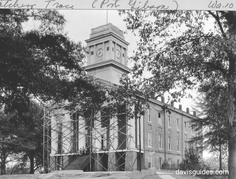 Chapel at Alcorn College, Alcorn, Mississippi. The iron steps and railing taken from nearby Windsor Castle. Natchez Trace Parkway, 1934.