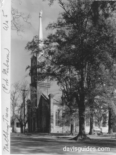 Church with hand pointing up on steeple, Port Gibson, Mississippi. Natchez Trace Parkway, 1934.