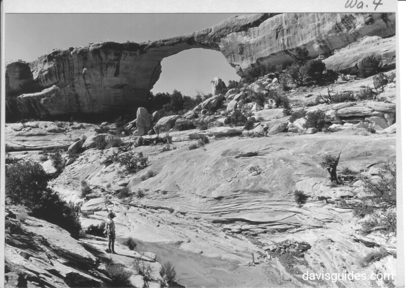 The Edwin, or Owachomo, Bridge over a side gulch in Armstrong Canyon, Utah. This bridge is at monument headquarters. Natural Bridges National Monument, 1935.