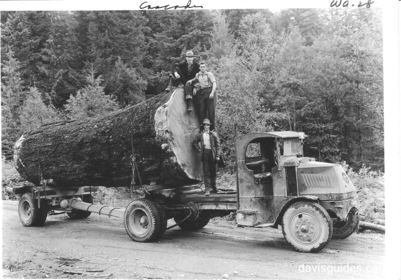Douglas fir log - 9 feet in diameter - heading to market on Road between Baker Lake and Concrete, Washington. Future North Cascades National Park, 1937.