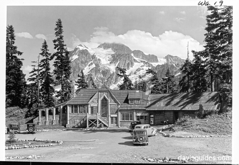 Restaurant at Mount Baker Lodge, with Mount Shuksan in background. Future North Cascades National Park, 1937