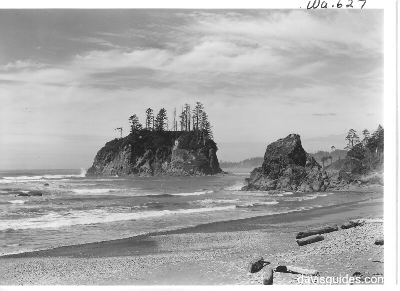 Rocks at Rubby Beach. Abbey Island on left. Olympic National Park, 1940.