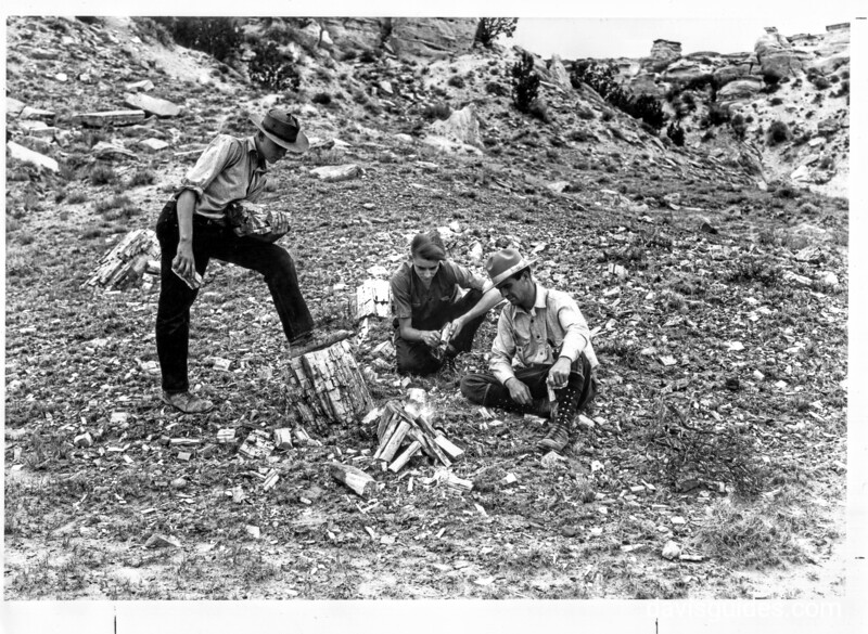 """""""Will it burn?"""" Tenderfeet attempting to build a fire in the petrified forest. Petrified Forest National Park, 1929."""