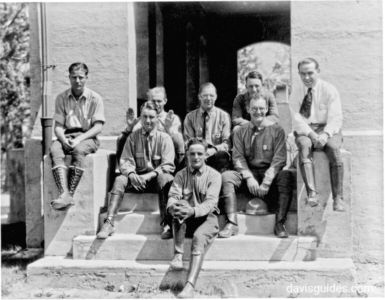 Park rangers at Yellowstone National Park, 1922. George Grant is seated second from the right on the steps.