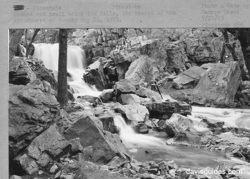 Washed out trail below Winnewissa Falls. The result of the cloudburst on Sunday, May 24, 1953. Pipestone National Monument, 1953.
