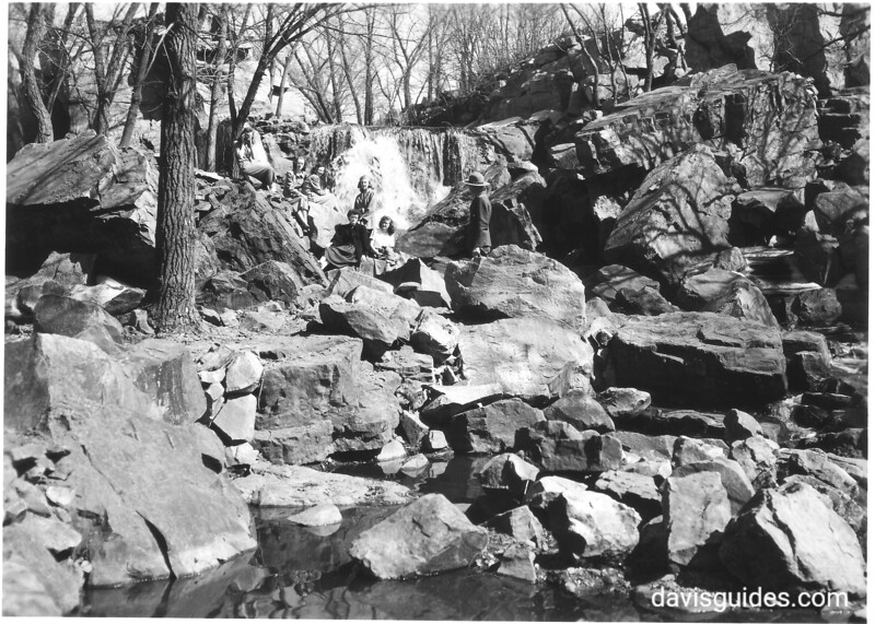 View of Winnewissa Falls on Pipestone Creek tumbling over quartzite outcropping. Pipestone National Monument, 1950.