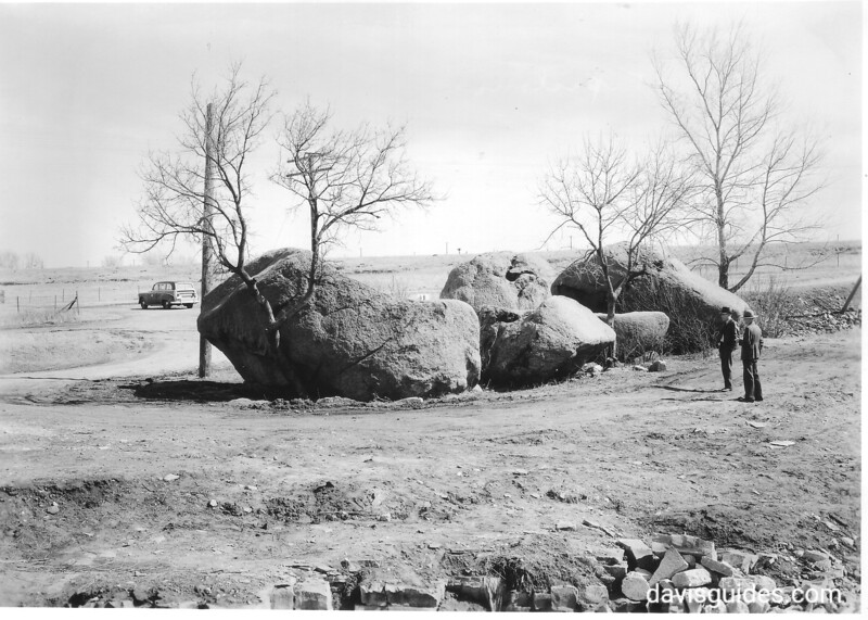 Glacial boulders known as the Three Maidens, near the southeast entrance of the monument area. Pipestone National Monument, 1950.