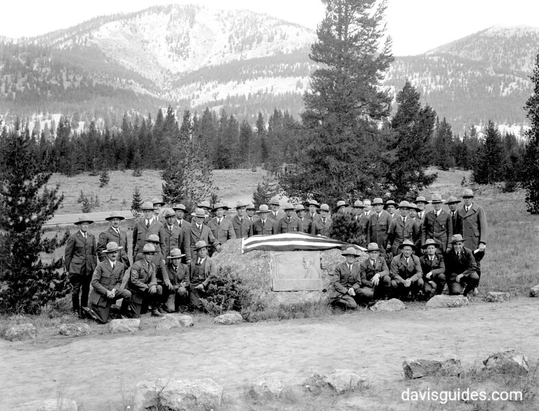 Yellowstone ranger staff at the dedication of the tablet in memory of Stephen Mather. Yellowstone National Park, 1932.