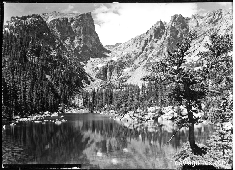 Dream Lake beneath Hallett Peak and Flattop. Rocky Mountain National Park, 1938.